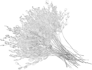 Fityle 50pcs Crystal Bud Branches Artificial Flower Twigs For Wedding Party Home Decor Floral Crafts - White, 15cm
