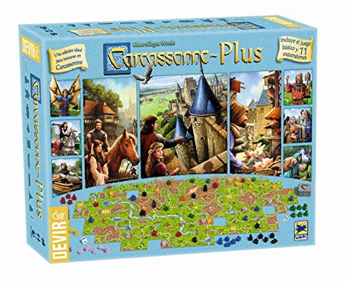 Devir BGCARPLUS3 - Carcasonne Plus, juego básico + 11 expansiones, edad recomandada...