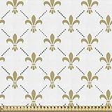 ABAKUHAUS Flor Tela por Metro, Lirios De Estilo Vintage, Decorativa para Tapicería y Textiles del Hogar, 1M (148x100cm), Blanco amarillo