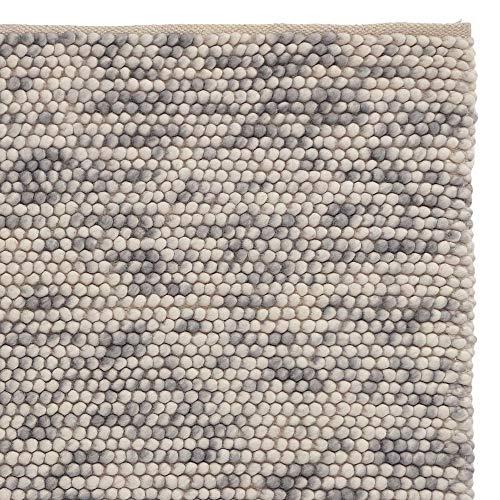URBANARA Teppich Ravi - Grau Melange 140 x 200 cm 80% Schurwolle 20% Baumwolle Wohnzimmer Teppich Handgewebter Wollteppich Mit Mellierung Und Moderner Grober Struktur