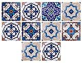 ft-shop adesivi per piastrelle, impermeabile pvc autoadesivo decorazione, adesivi pavimento per bagno cucina parete fai da te 10 pezzi 20 x 20cm