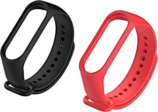 MI cosa Black and red Combo (only for mi Band 3, 3i and 4) Adjustable Xiaomi Mi Band 3/ Mi Band 4 Watchband Silicone Strap...
