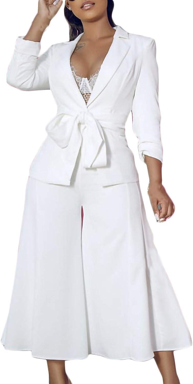 Women's Long Sleeve Solid Suit Pants Casual Elegant Business Suit Sets