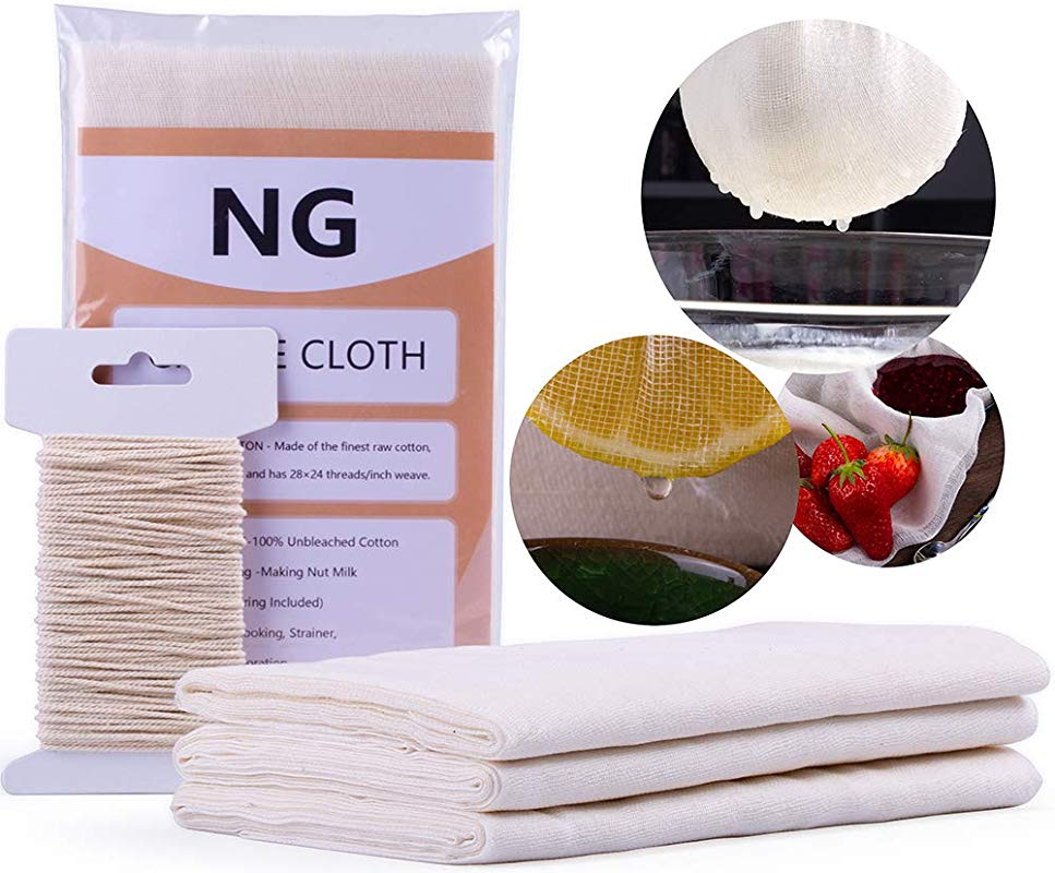 NUOBUNG Unbleached Cheese Cloth Cheesecloth 100 Unbleached Cotton Fabric 50 Grade 2 5 Yards 9 Sq Feet For Butter Cooking Food Filter Baking Cheese Making 50 Sq Feet Cotton String Included
