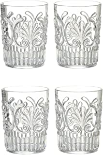 Set of 4 Le Cadeaux Classic Break Resistant Drinkware Tumblers or Water Glasses, Clear