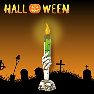 Shan-S Halloween Tealight Candles, LED Light Skull Candle Holder Skeleton Ghost Hand Flameless Fake Candle LED Light Battery Operated Party Bar Halloween Decoration Lamps