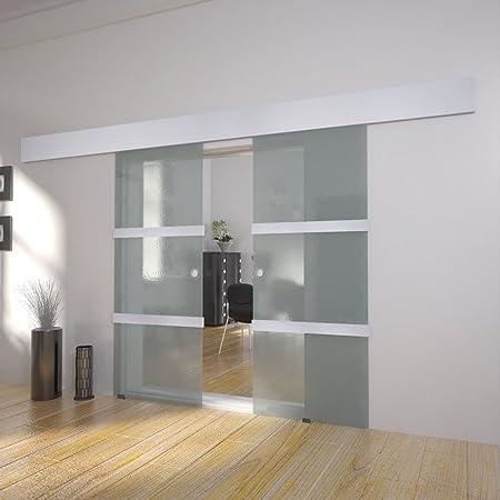 Festnight Puerta Corredera Doble Material De Cristal Y Aluminio Y Acero 205x75 Cm Amazon Es Hogar