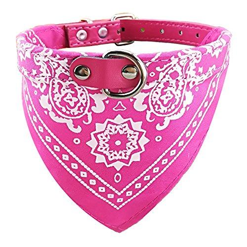 Newtensina Mode Hundebandana Halsband HundeHalsband Junge Mittel Bandana Hündchen Bandana mit Halsband für Hunde - ROSEO - S
