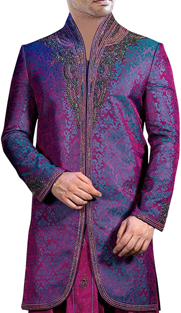 INMONARCH Indian Wedding Clothes for Men Purple Indo Western Suit Sherwani for Men IN211
