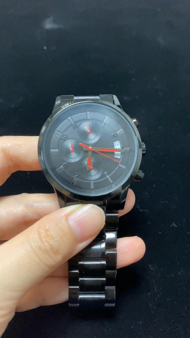 CRRJU Men's Six-pin Multifunctional Chronograph Wristwatches,Stainsteel Steel Band Waterproof Watch
