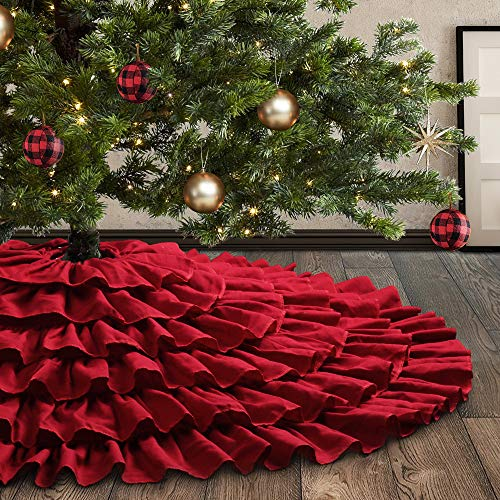 Meriwoods Ruffled Burlap Christmas Tree Skirt 48 Inch, Large Natural Linen Tree Collar, Country Rustic Indoor Xmas Decorations, Burgundy Red