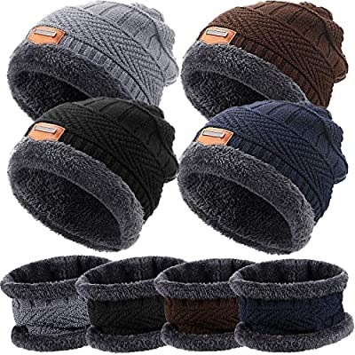 4 Sets Winter Beanie Hat Scarf Set Multi-Color Fleece Lined Skull Cap and Scarf