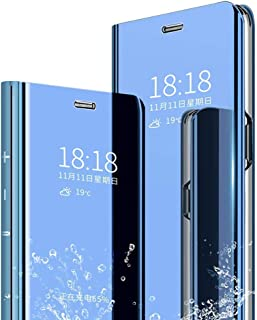 HONTECH Flip Case for iPhone 11, Full Body Translucent View Mirror Electroplate Stand Hard PC Cover Built-in Kickstand 6.1 inch 2019, Blue