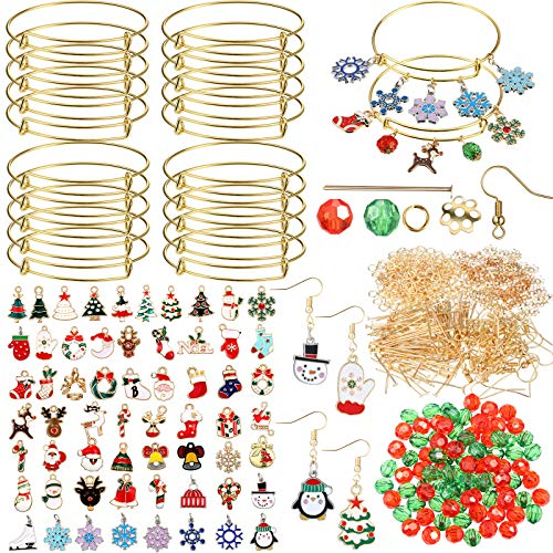 60 Pieces Christmas Pendant Charms with 20 Pieces Expandable Bangle Bracelets 100 Pieces Red and Green Faceted Round Spacer Beads 440 Small Fixed Decorative Accessories DIY Metal Jewelry for Christmas