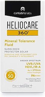 Heliocare 360º Mineral Tolerance Fluid SPF 50 - Crema Solar Facial Fotoprotector Avanzado Textura Ligera Sin Efecto Bla...