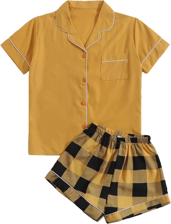 Romwe Women's Pajama Set Short Sleeve Button Down Pj Set Shorts Lounge Set Sleepwear