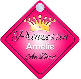 Prinzessin Amelie Baby / Kind an Bord Mädchen Auto-Zeichen (Prinzessin001)