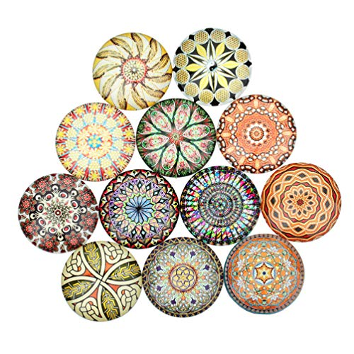 Artibetter 20pcs DIY Flatback Gems Pendant Crystal Glass Charms Round Glass Cabochon Jewelry Findings for DIY Crafts Jewelry Making (Mixed Color 12mm)