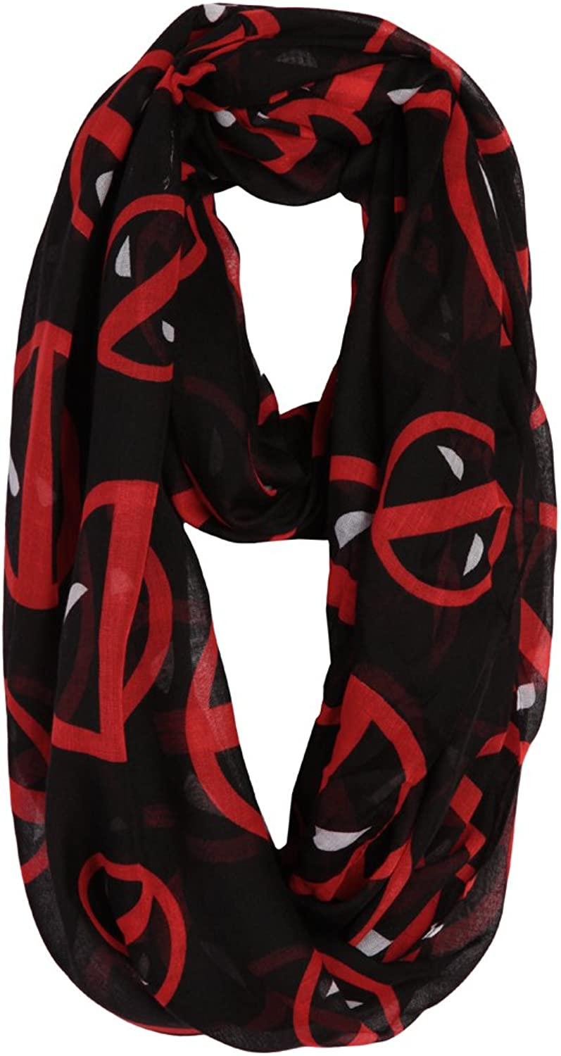 Deadpool Logo All Over Infinity Fashion Scarf, Black, One Size