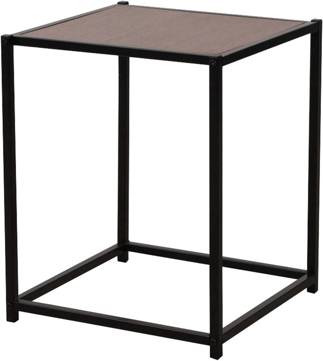 Rustic Iron Frame Wood Grain End Table Surface Side Rapid rise Direct store Veneer