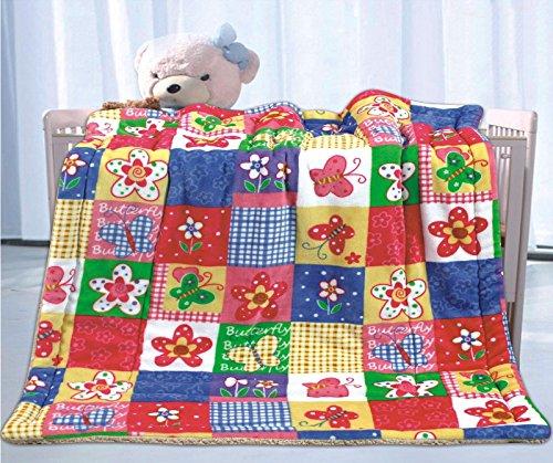 Elegant Home Kids Soft & Warm Sherpa Baby Toddler Boy Blanket Printed Borrego Stroller or Baby Crib or Toddler Bed Blanket Plush Throw 40X50 (Flowers)