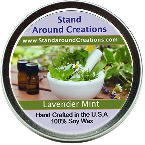 Premium 100% All Natural Soy Wax Aromatherapy Candle - 4oz Tin - Lavender Mint: A well-balanced herbal blend of earthy lavender flowers and fresh peppermint and spearmint sprigs.
