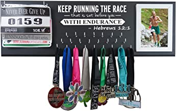 Running On The Wall Medal Hanger Display and Race Bibs Keep Running The Race That is Set Before You with Endurance -Hebrews 12:1