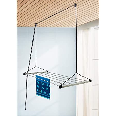 SYNERGY - (6 Pipes x 5 Feet) - Heavy Duty - Stainless Steel Ceiling Clothes Hanger/Cloth Dryer with UV Protected Nylon Rope (SY-CE2)