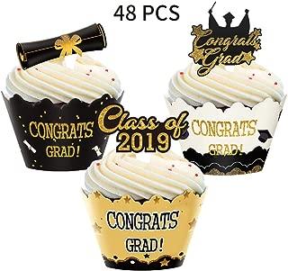 Graduation Cupcake Toppers Wrappers, Congrats Grads Cake Topper for Graduation Party Supplies Decoration,48pcs