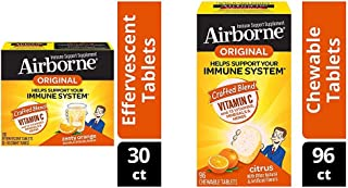 Vitamin C 1000mg - Airborne Zesty Orange Effervescent Tablets (30 Count in a Box) and Vitamin C 1000mg - Citrus Chewable T...