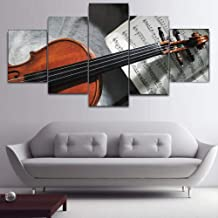 Bzdmly 5 Piece HD Prints Posters Modular Wall Art Guitar Sheet Music Canvas Painting for Living Room Bedroom Home Decorative Pictures -A