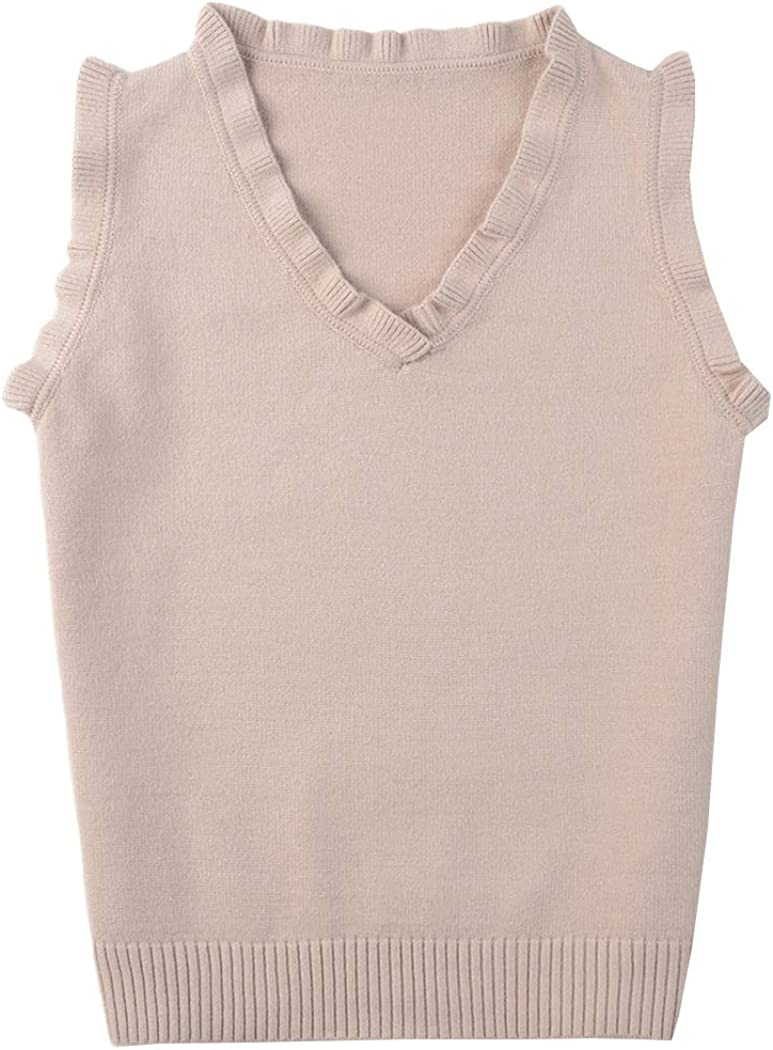Hixiaohe Women's Solid Classic V-Neck Pullover Sweater Vest Sleeveless Knit Tops