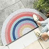 HelloTree Creative Semi-Circular Area Rug Anti Slip Door Mat Rainbow Sun Printing Floor Mats Bedroom Carpet Rugs Entrance Doormat - Rainbow, 17.7'x35.4'