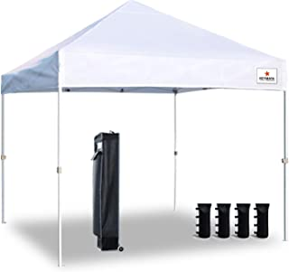 Keymaya 10x10 Ez Pop Up Canopy Tent Commercial Instant Shelter Canopies Bonus Heavy Duty Weight Bag 4-pc Pack