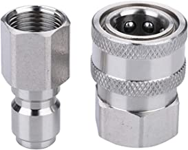 Challco 3/8-Inch Quick Connect Pressure Washer Adapter Set, Stainless Steel, Max Pressure 5000 PSI Rating