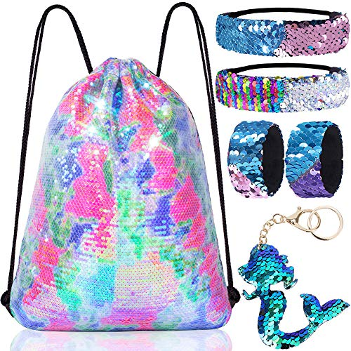 Mermaid Reversible Sequin Drawstring Backpack/Bag Clear Iridescent Sequin+Colorful Fabric for Kids Girls