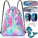 GA&EN Mermaid Reversible Sequin Drawstring Backpack/Bag for Kids Girls