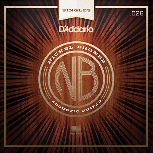 D'Addario NB026 Nickel Bronze Wound Acoustic Guitar Single String