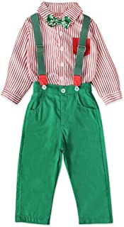 TTMOW 2PCS Boys Gentleman Christmas Suits Striped Shirts with Bowie Pants Outfits Suspender Overalls