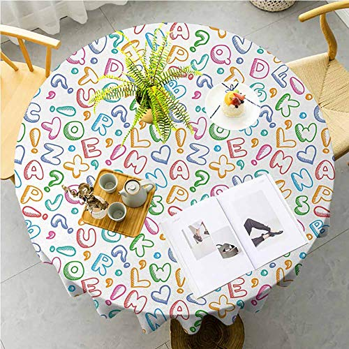 JKTOWN Alphabet Kitchen Table Tablecloth Spring Dining Room And Kitchen Decorative 35 inch Chubby Letters in Fun Colors Kids Scribble Style ABC Symbols Hearts Comics Art Multicolor