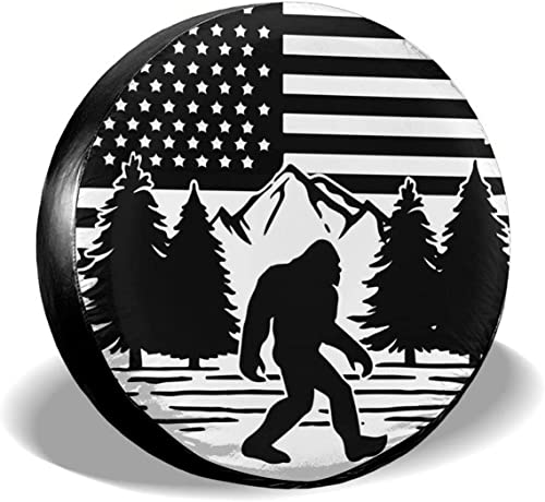 """wholesale Gwomo Bigfoot American Flag Spare Tire Cover Wheel high quality Protectors Tyre Covers Weatherproof Wheel Covers Universal Fit for Trailer Rv wholesale SUV Truck Camper Travel Trailers 14"""" 15"""" 16"""" 17"""" online"""