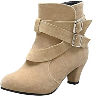 JOJONUNU Women Vintage Block Heels Dress Boots