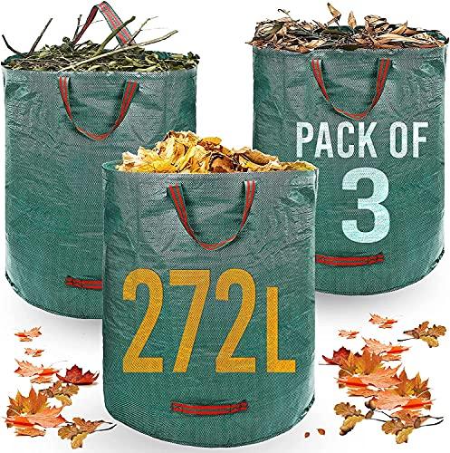 WMWM Bolsa de basura de jardín de alta resistencia, 272 litros-3 bolsas-asas industriales y telas de jardín al aire libre/bolsas de basura verdes-reutilizables