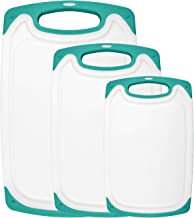 HOMWE Kitchen Cutting Board (3-Piece Set) - Juice Grooves with Easy-Grip Handles - BPA-Free, Non-Porous, Dishwasher Safe -...