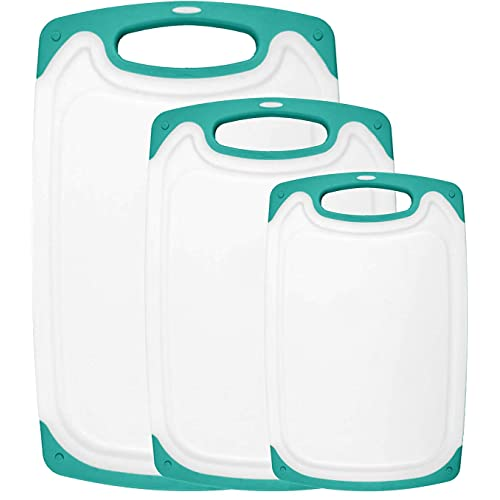 HOMWE Kitchen Cutting Board (3-Piece Set) - Juice Grooves with Easy-Grip Handles, Non-Porous, Dishwasher Safe - Multiple Sizes - Aqua