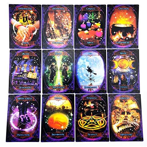 Sliveal 48PCS Carta del Tarot Witches Wisdom Oracle Cards Impresionante Mazo De 48 Cartas masterwork