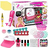 Upgraded Nail Polish Set for Girls, Nail Art Kit for Kids with Nail Art Pen, Nail Dryer, Eyeshadow, False Nail - Kids Washable Makeup Kit for Girls, Best Gift for Birthday/Party(Without Battery)