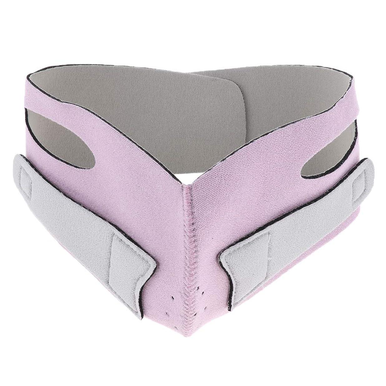 商人フェデレーション女優引き上げマスク 頬リフトアップ V-ラインマスク リフティング リフトスリムマスク 通気性 全2色 - ピンク