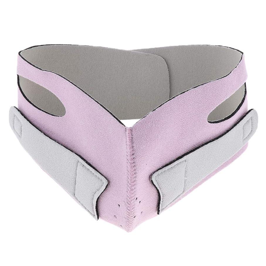 チキン傾斜写真引き上げマスク 頬リフトアップ V-ラインマスク リフティング リフトスリムマスク 通気性 全2色 - ピンク
