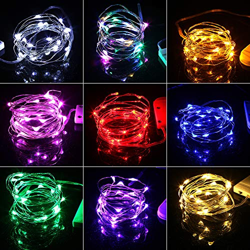Decorative night light 2M 20leds Battery Copper Wire Fairy Garland LED String lights Holiday lighting For Christmas Tree Wedding Party Decoration ( Emitting Color : Green , Wattage : 2M 20LEDS )